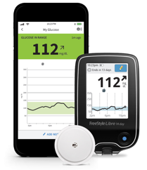 Image of the FreeStyle Libre continuous glucose monitoring system.